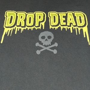 90s Drop Dead Vintage Skull Crossbones Shirt Scary